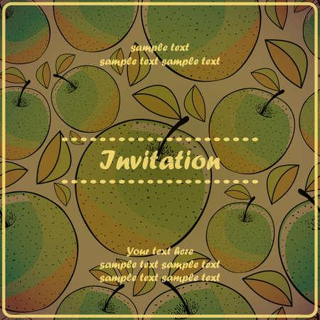 ascorbic: Tarjeta de la invitaci�n con manzana Vectores
