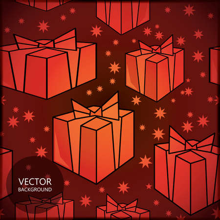 Card with new year gifts Vector