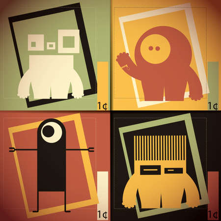 horror background: Monsters - vector set