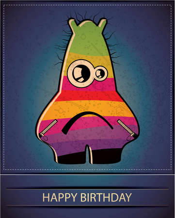 Happy birthday card with cute cartoon monster Stock Vector - 17577815