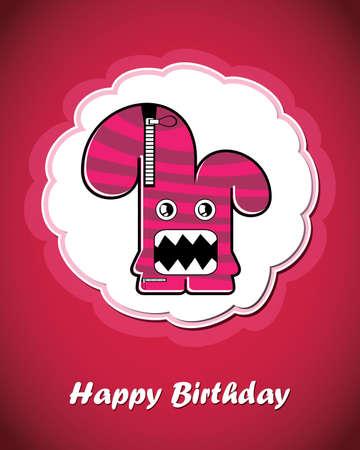 Happy birthday card with cute cartoon monster Stock Vector - 17577661