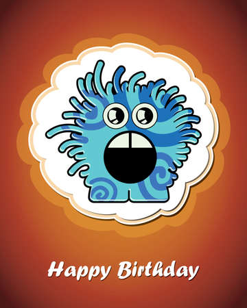Happy birthday card with cute cartoon monster Stock Vector - 17577729
