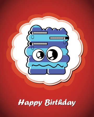 Happy birthday card with cute cartoon monster Stock Vector - 17577647