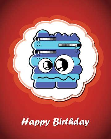 Happy birthday card with cute cartoon monster Stock Vector - 17577647