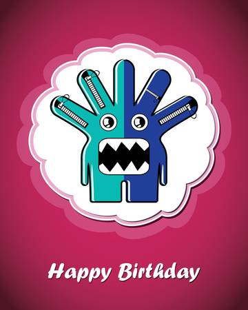 Happy birthday card with cute cartoon monster Stock Vector - 17577708