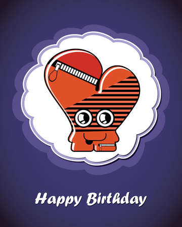Happy birthday card with cute cartoon monster Stock Vector - 17577655
