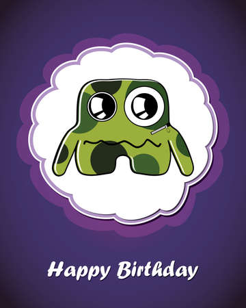 Happy birthday card with cute cartoon monster Stock Vector - 17577660