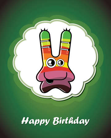 Happy birthday card with cute cartoon monster Stock Vector - 17577727