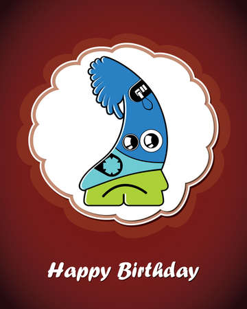 Happy birthday card with cute cartoon monster Stock Vector - 17577652