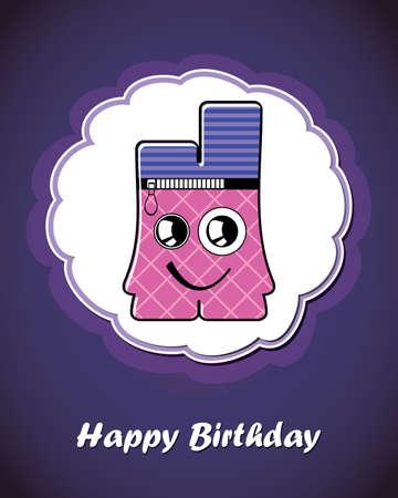 Happy birthday card with cute cartoon monster Stock Vector - 17577659