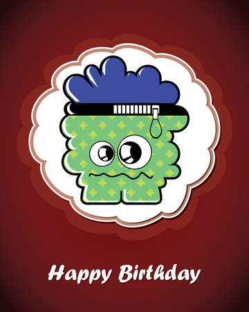 Happy birthday card with cute cartoon monster Stock Vector - 17577653