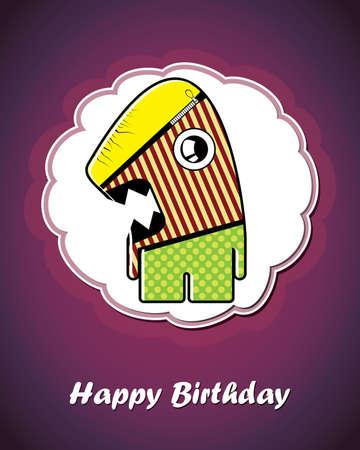 Happy birthday card with cute cartoon monster Stock Vector - 17577720