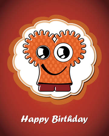 Happy birthday card with cute cartoon monster Stock Vector - 17577699