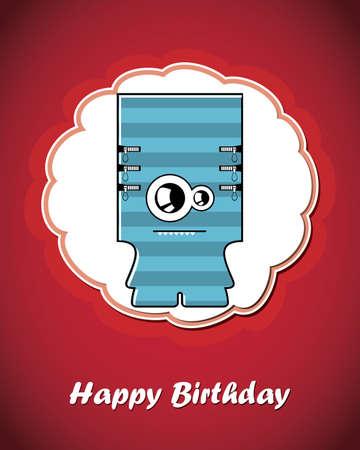 Happy birthday card with cute cartoon monster Stock Vector - 17577672