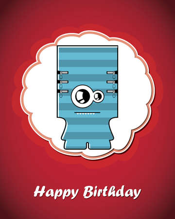 Happy birthday card with cute cartoon monster Stock Vector - 17577672