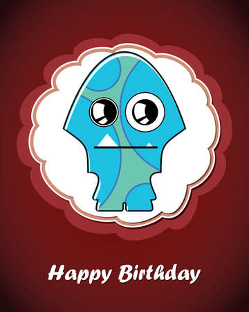 Happy birthday card with cute cartoon monster Stock Vector - 17577657
