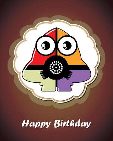 Happy birthday card with cute cartoon monster Stock Vector - 17577743