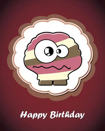 Happy birthday card with cute cartoon monster Stock Vector - 17577711