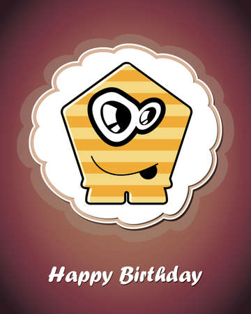 Happy birthday card with cute cartoon monster Stock Vector - 17577750