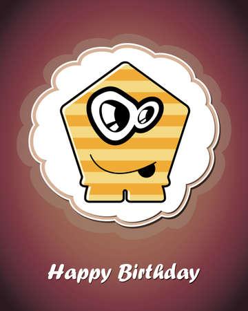 Happy birthday card with cute cartoon monster Stock Vector - 17577750