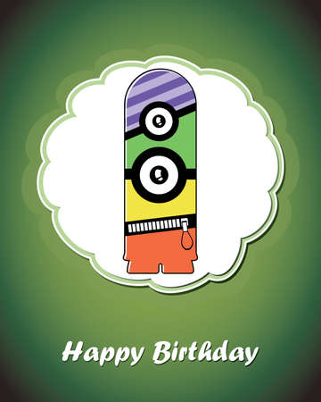 Happy birthday card with cute cartoon monster Stock Vector - 17577749
