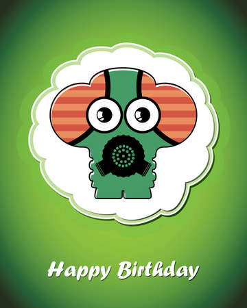 Happy birthday card with cute cartoon monster Stock Vector - 17577744