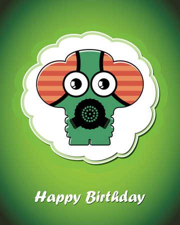 Happy birthday card with cute cartoon monster Stock Vector - 17577744