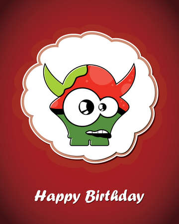Happy birthday card with cute cartoon monster Stock Vector - 17577643
