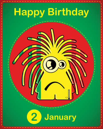 Happy birthday card with cute cartoon monster Stock Vector - 17577919