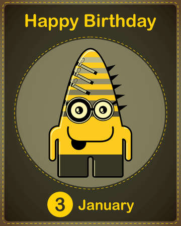 Happy birthday card with cute cartoon monster Stock Vector - 17577891