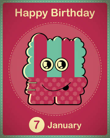 Happy birthday card with cute cartoon monster Stock Vector - 17577970