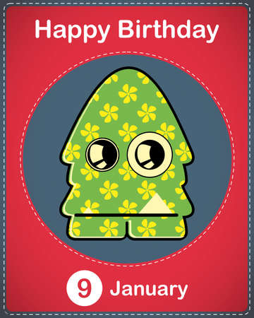 Happy birthday card with cute cartoon monster Stock Vector - 17577915