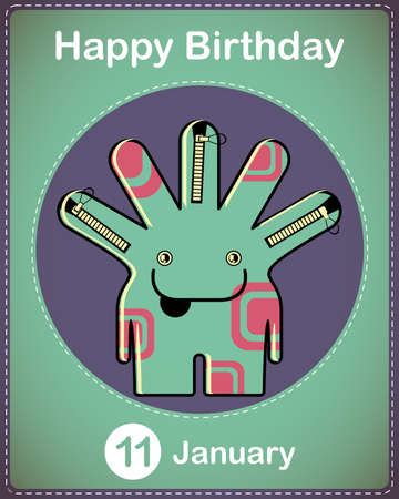 Happy birthday card with cute cartoon monster Stock Vector - 17577894