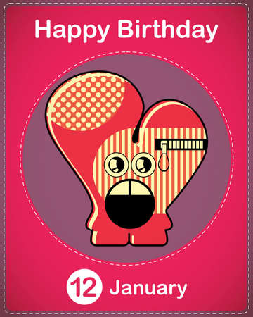 Happy birthday card with cute cartoon monster Stock Vector - 17577913