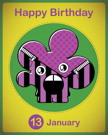 Happy birthday card with cute cartoon monster Stock Vector - 17577842