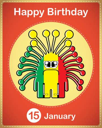 Happy birthday card with cute cartoon monster Stock Vector - 17577871