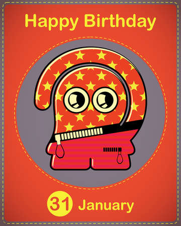 Happy birthday card with cute cartoon monster Stock Vector - 17577774