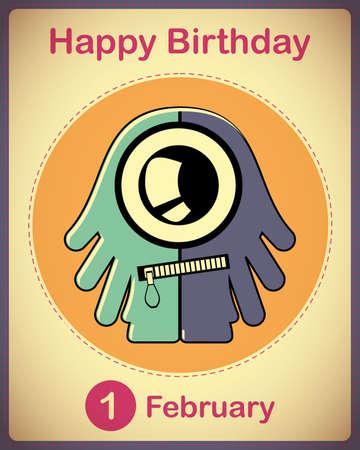 Happy birthday card with cute cartoon monster Stock Vector - 17577933