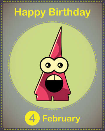 Happy birthday card with cute cartoon monster Stock Vector - 17577835
