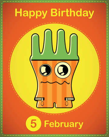 Happy birthday card with cute cartoon monster Stock Vector - 17577916