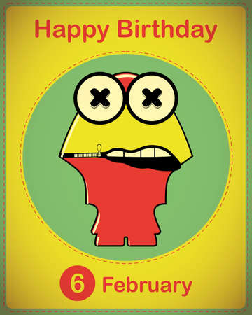 Happy birthday card with cute cartoon monster Stock Vector - 17577957