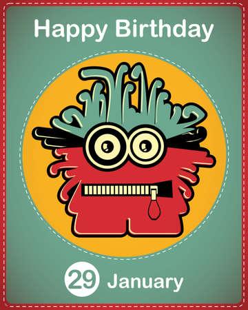 Happy birthday card with cute cartoon monster Stock Vector - 17577908