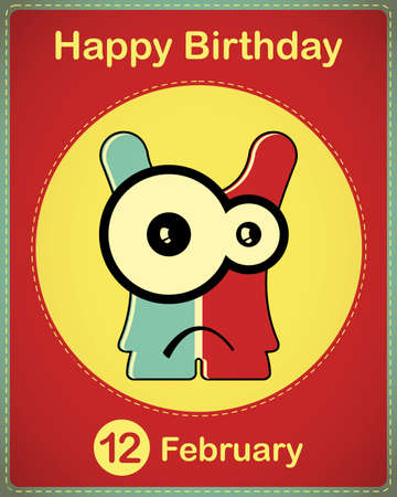 Happy birthday card with cute cartoon monster Stock Vector - 17577844