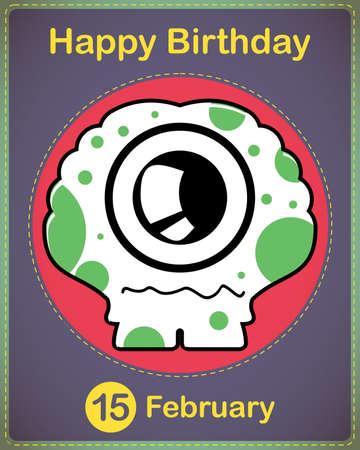 Happy birthday card with cute cartoon monster Stock Vector - 17577831