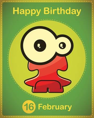 Happy birthday card with cute cartoon monster Stock Vector - 17577846