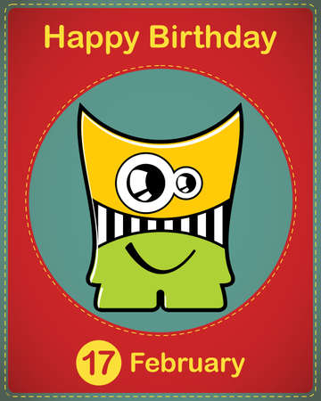 Happy birthday card with cute cartoon monster Stock Vector - 17577817