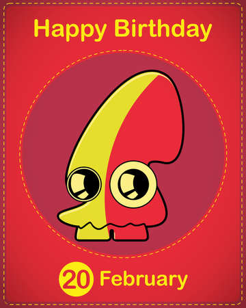 Happy birthday card with cute cartoon monster Stock Vector - 17577840