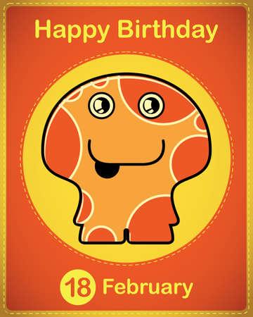 Happy birthday card with cute cartoon monster Vector