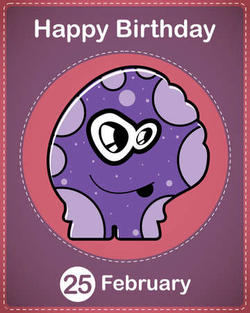Happy birthday card with cute cartoon monster Stock Vector - 17577833