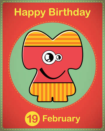 Happy birthday card with cute cartoon monster Stock Vector - 17577818